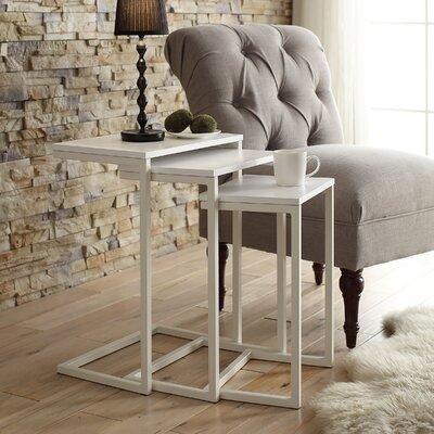 Zenia 3 Piece Nesting Tables Color: White / White Metal
