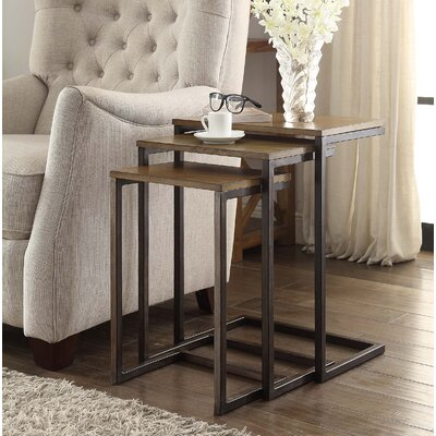 Zenia 3 Piece Nesting Tables Color: Oak / Iron
