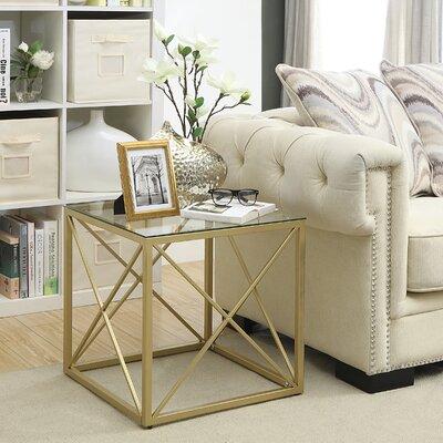 Molen Cube End Table Color: Gold