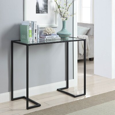 Dowling Glass Top Console Table Color: Black