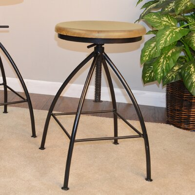 Montvale Adjustable Height Swivel Bar Stool Finish: Natural/Black