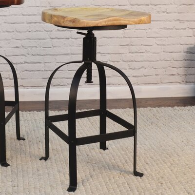 Bernardsville Adjustable Height Swivel Bar Stool Finish: Natural/Black