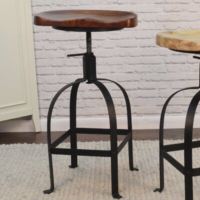 Bernardsville Adjustable Height Swivel Bar Stool Finish: Chestnut/Black
