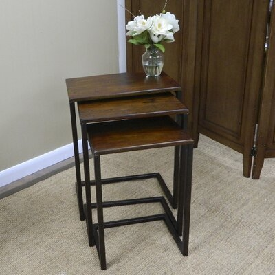 Zenia 3 Piece Nesting Tables Finish: Chestnut / Textured Black