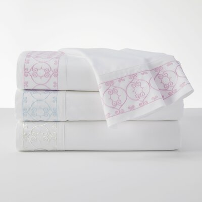 100% Cotton Embroidered White Sheet Set Size: Twin, Color: Blue