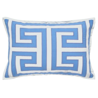 Chinoiserie Garden Greek Key Decorative Cotton Lumbar Pillow