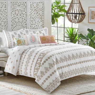 Marielle 100% Cotton Reversible Duvet Set Size: Full/Queen