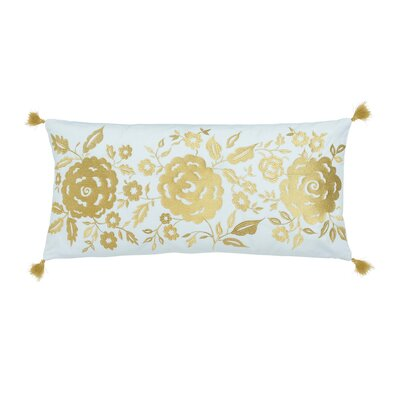 Marielle Teal Floral 100% Cotton Lumbar Pillow