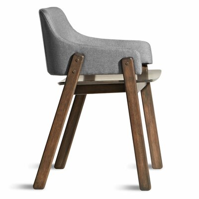 Clutch Upholstered Dining Chair Leg Color: White Oak, Upholstery Color: Pewter
