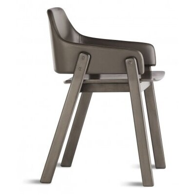 Clutch Dining Chair Finish: Smoke, Upholstery: Leather - Brown