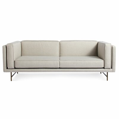 Bank Sofa Frame Finish: Brass, Upholstery: Rostenkowski Blue
