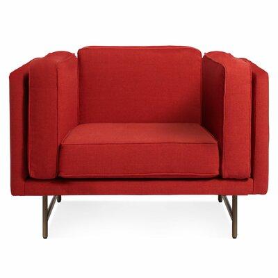 Bank Armchair Upholstery: Brick, Leg Color: Brass