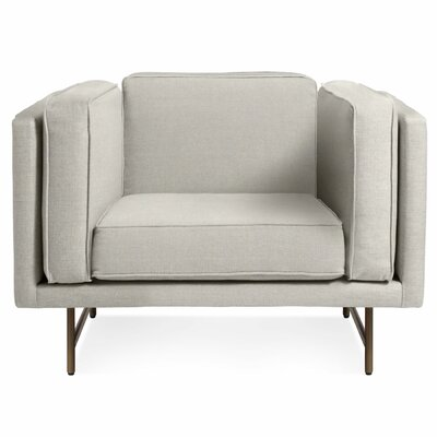Bank Armchair Color: Linen, Finish: Brass