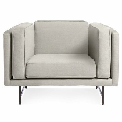 Bank Armchair Upholstery: Linen, Leg Color: Metal