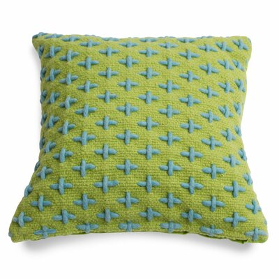 Mima Cross Stitch Wool Throw Pillow Color: Green/Blue