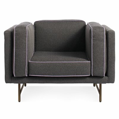 Bank Armchair Upholstery: Mink Velvet, Leg Color: Metal