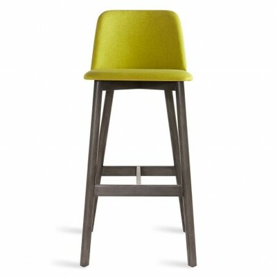 Chip 31.5 Bar Stool Body Fabric: Gunmetal, Leg Finish: White Oak