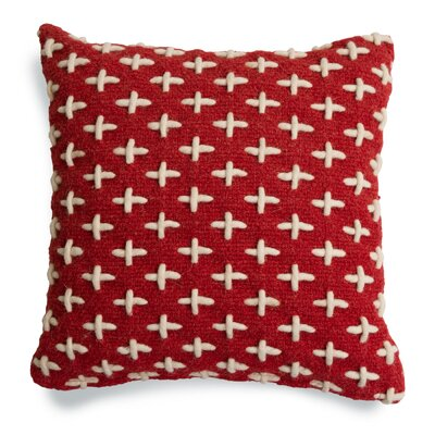 Mima Cross Stitch Wool Throw Pillow Color: Red/White