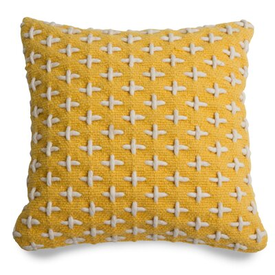 Mima Cross Stitch Wool Throw Pillow Color: Yellow/White