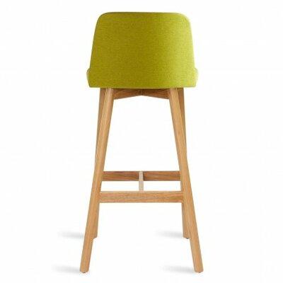Chip 25 inch Bar Stool Upholstery: Bright Green, Frame Finish: White Oak
