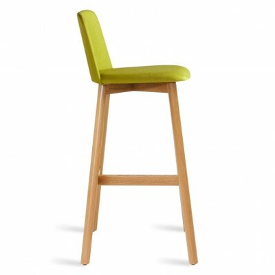 Chip 25 Bar Stool Body Fabric: Bright Green, Leg Finish: White Oak