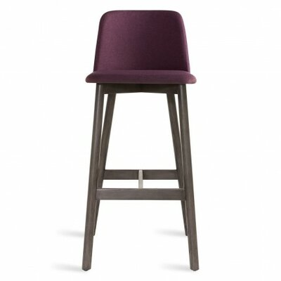 Chip 31.5 inch Bar Stool Upholstery: Purple, Leg Finish: Smoke