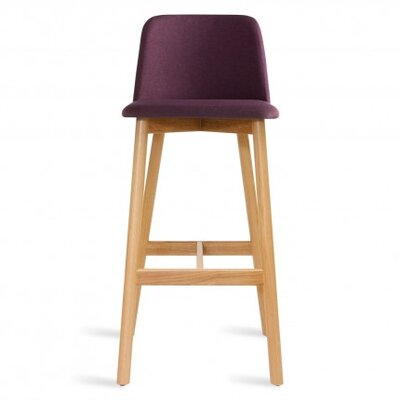 Chip 25 Bar Stool Body Fabric: Purple, Leg Finish: White Oak