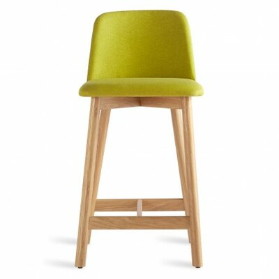 Chip 25 Bar Stool Body Fabric: Grey-Brown Leather, Leg Color: Smoke