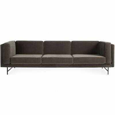 Bank Sofa Frame Finish: Blackened Metal Legs, Upholstery: Linen