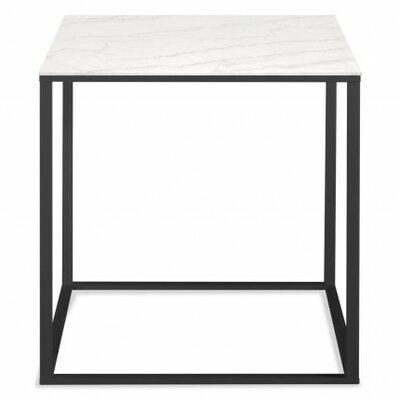 Minimalista End Table Base Color: Black, Top Color: Marble