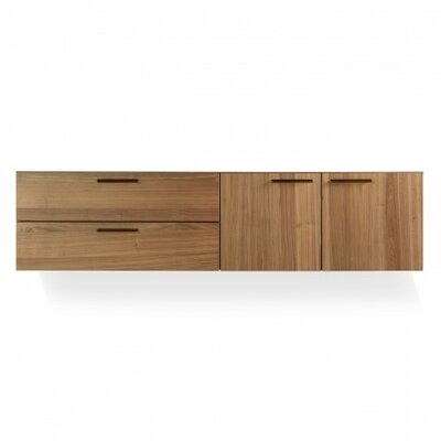 Shale  2 Door/2 Drawer Cabinet Color: Dark Walnut