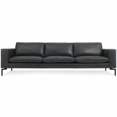 The New Standard Sofa Body Fabric: Black Leather, Leg Color: Black