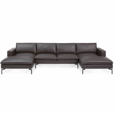 The New Standard Sectional Collection Body Fabric: Toffee Leather, Leg Finish: Black