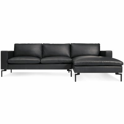 The New Standard Sectional Collection Body Fabric: Black Leather, Leg Finish: Black