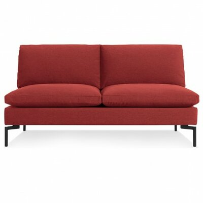 The New Standard Armless Loveseat Leg Finish: Black, Upholstery: Nixon Red