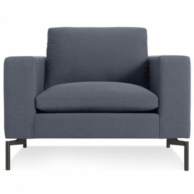 The New Standard Armchair Upholstery: Nixon Blue, Leg Color: Black