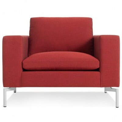 The New Standard Armchair Upholstery: Nixon Red, Leg Finish: White