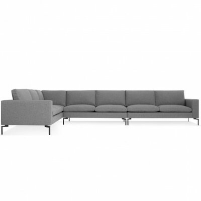 The New Standard Left Sectional Leg Finish: Black, Upholstery: Spitzer Grey