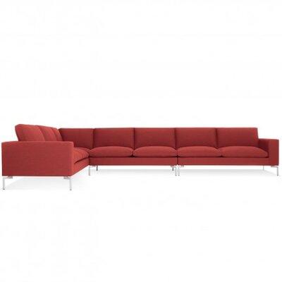 New Standard Left Sectional Upholstery: Nixon Red, Leg Finish: White
