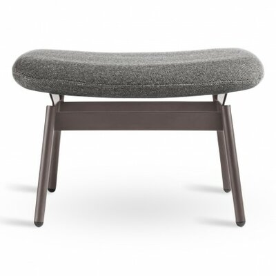 Field Ottoman Upholstery: Edwards Charcoal, Finish: Brown