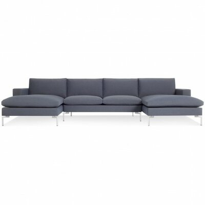 The New Standard Sectional Collection Body Fabric: Nixon Blue, Leg Finish: White