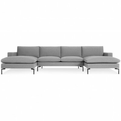 New Standard U-Shaped Sectional Leg Finish: Black, Upholstery: Spitzer Grey