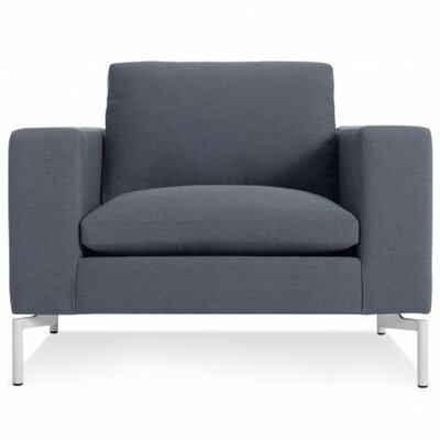 The New Standard Armchair Upholstery: Nixon Blue, Leg Color: White