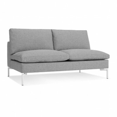 The New Standard Armless Loveseat Body Fabric: Spitzer Grey, Leg Color: White