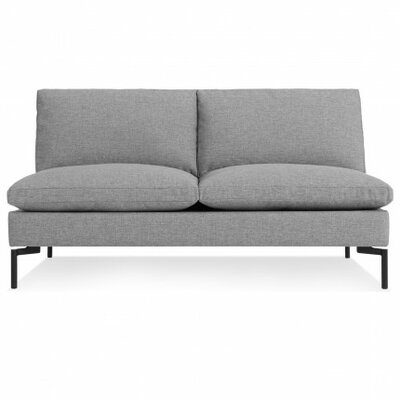 The New Standard Armless Loveseat Leg Finish: Black, Upholstery: Spitzer Grey