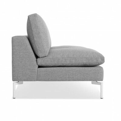 The New Standard Armless Loveseat Upholstery: Spitzer Grey, Leg Finish: White