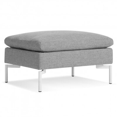 The New Standard Ottoman Body Fabric: Spitzer Grey, Leg Color: White