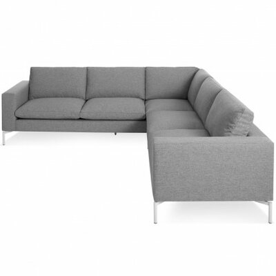 The New Standard Sectional Collection Body Fabric: Spitzer Grey, Leg Finish: White, Orientation: Right hand facing