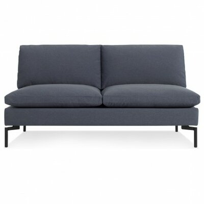 The New Standard Armless Loveseat Body Fabric: Nixon Blue, Leg Color: Black