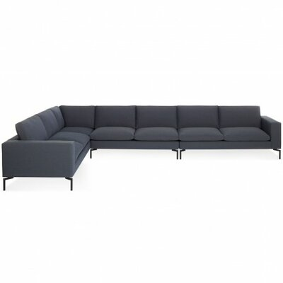 The New Standard Left Sectional Leg Finish: Black, Upholstery: Nixon Dusk